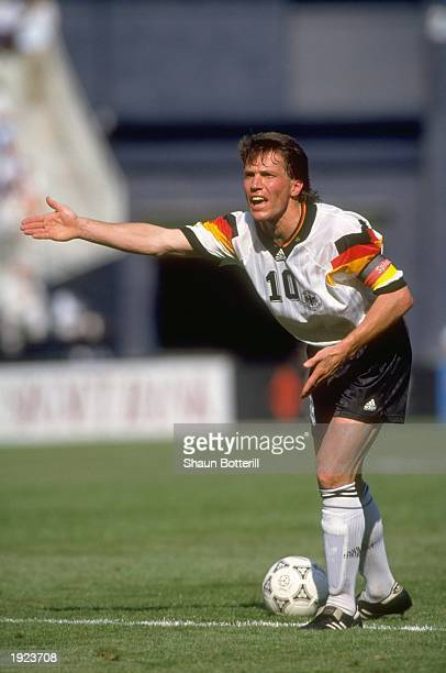 Lothar Matthaus of Germany shouts to his team mates during a US Cup match against Brazil Mandatory Credit Shaun Botterill/Allsport