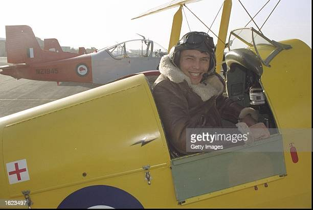 RAF pilot Rory Underwood of the British Lions prepares to fly a biplane on the Lions tour of New Zealand in New Zealand The Lions lost the test...