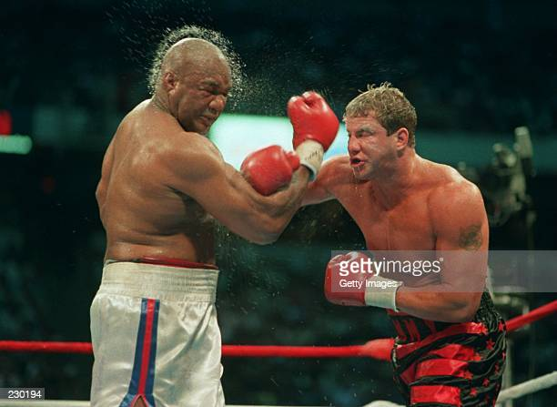 Tommy Morrison lands a right to the head of George Foreman during their heavyweight bout in Las Vegas Nevada It was confirmed 12 February 1996 that...