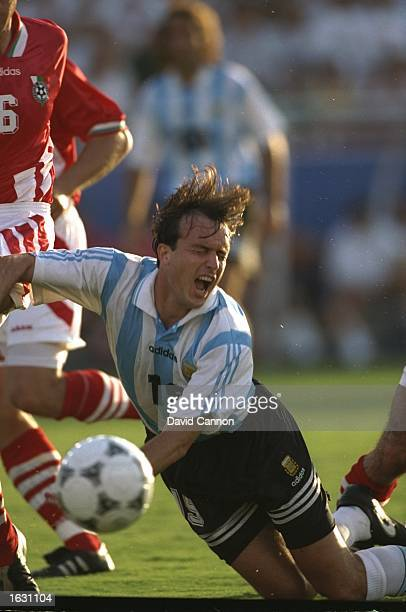 Abel Balbo of Argentina is brought down during the World Cup match against Bulgaria at the Cotton Bowl in Dallas Texas USA Bulgaria won the match 20...