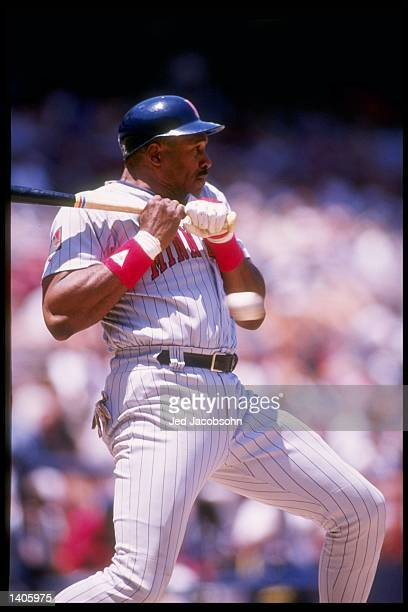 Designated hitter Dave Winfield of the Minnesota Twins at bat during a game against the California Angels at Anaheim Stadium in Anaheim California
