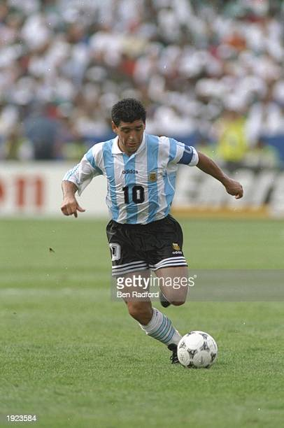 Diego Maradona of Argentina in action during the World Cup match against Nigeria at the Foxboro Stadium in Boston, Massachusetts, USA. Argentina won...