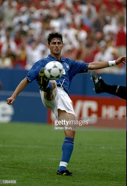 Dino Baggio of Italy in action during the World Cup quarter-final against Spain at the Foxboro Stadium in Boston, Massachusetts, USA. Italy won the...