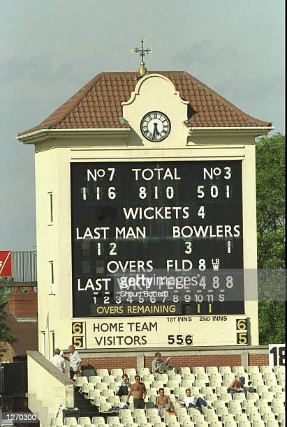 General view of the scoreboard showing Brian Lara of Warwickshire's World Record innings of 501 not out during the County Championship match against...