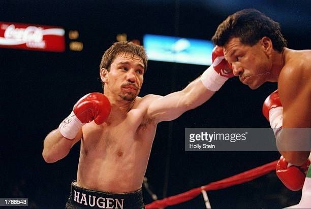 Greg Haugen lands a blow to the head of his opponent Tony Lopez during their fight in Las Vegas Nevada Lopez won the bout