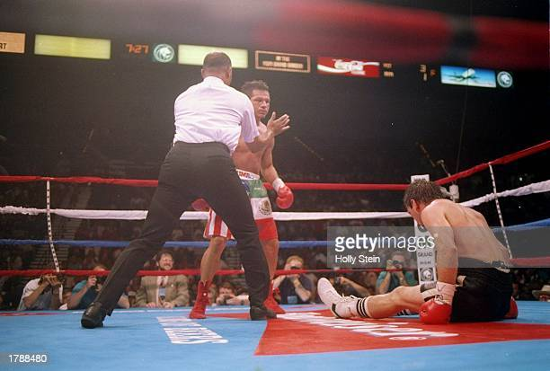 Greg Haugen sits on the canvas as the referee keeps his opponent Tony Lopez away during their fight in Las Vegas Nevada Lopez won the bout