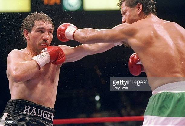 Greg Haugen trades blows with his opponent Tony Lopez during their fight in Las Vegas Nevada Lopez won the bout