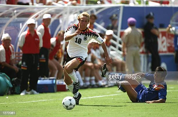 Jurgen Klinsmann of Germany in action during a World Cup match against South Korea at the Cotton Bowl in Dallas Texas USA Germany won the match 32...