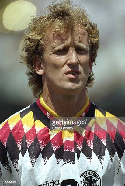 Portrait of Andreas Brehme of Germany before the World Cup match against South Korea at the Cotton Bowl in Dallas Texas USA Germany won the match 32...