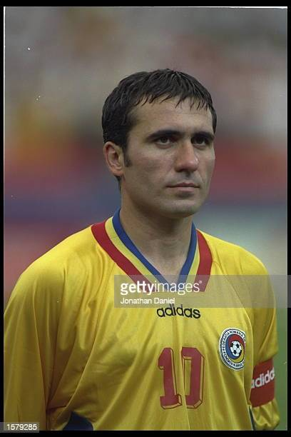 Portrait of Gheorghe Hagi of Romania before the start of the game against Switzerland during the World Cup Finals in the USA
