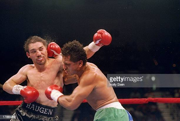 Tony Lopez trades punches with his opponent Greg Haugen during their fight in Las Vegas Nevada Lopez won the bout
