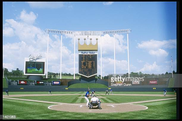 General view of action during a game between the Toronto Blue Jays and the Kansas City Royals at Kauffman Stadium in Kansas City Missouri The Royals...