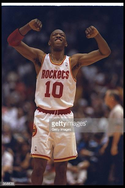 Guard Sam Cassell of the Houston Rockets celebrates during a Finals game against the Orlando Magic at The Summit in Houston, Texas. The Rockets won...