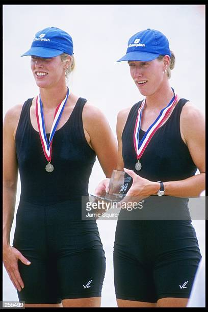 Members of the Women''s Coxless 2x gold medal team Mary and Betsy McCagg wear their medals at the US Rowing Championships in Lake Lanier Georgia...