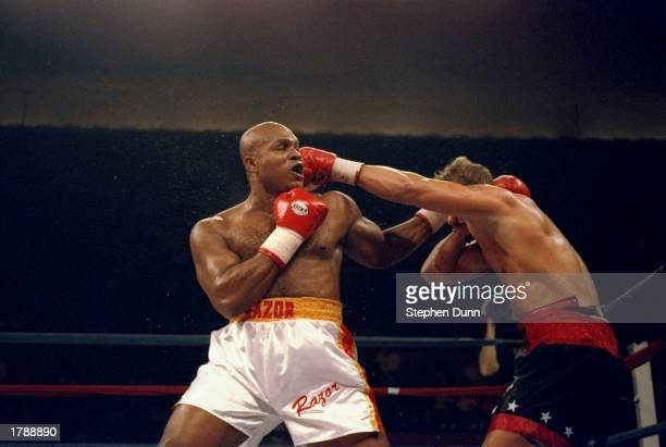 Razor Ruddock trades blows with his opponent Tommy Morrison Morrison won the fight with a TKO in the sixth round Mandatory Credit Stephen Dunn...