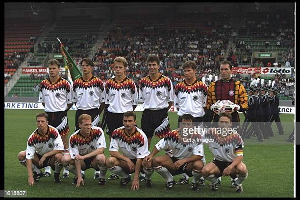 The German football team before the start of the game against Italy