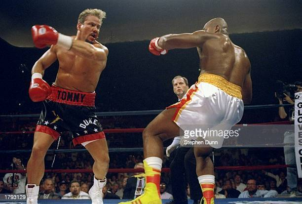 Tommy Morrison left and Razor Ruddock trade blows during a bout Morrison won the fight with a TKO in the sixth round Mandatory Credit Stephen Dunn...