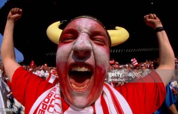 A Danish fan during the Euro 96 group D match against Croatia at Hillsborough in Sheffield England Mandatory Credit Simon Bruty /Allsport