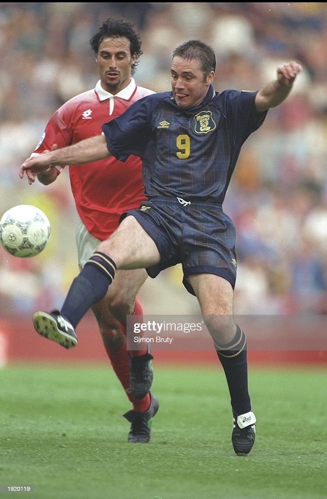 Ally McCoist of Scotland in action during the Euro 96 match against Switzerland at Villa Park in Birmingham, England. Scotland won the match 1-0. \ Mandatory Credit: Simon Bruty/Allsport