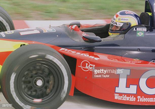 Andre Ribeiro of Brazil in his Tasman Motorsport Lola Honda T96/00 during practice for the ITT Automotive Detroit Grand Prix round eight of the PPG...