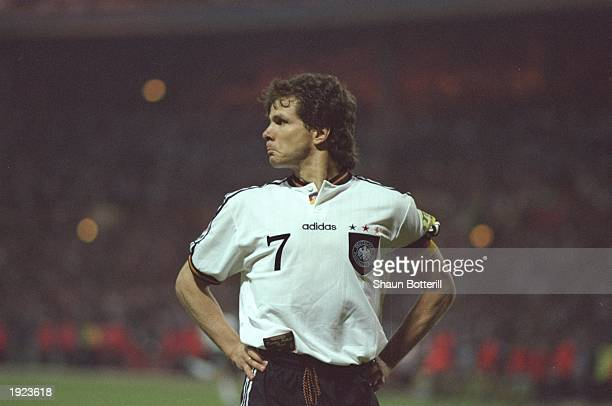 Andreas Moller of Germany celebrates his penalty during the European Championships semifinal against England at Wembley Stadium in London Germany won...