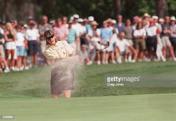 Annika Sorenstam of Sweden plays on to the 14th green on her way to winning the 1996 US Womens Open at Pine Needles Golf Club in Southern Pines North...