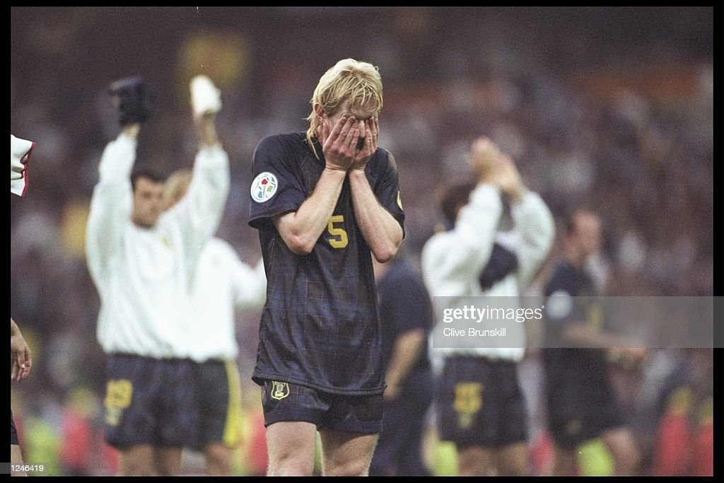 Colin Hendry of Scotland despairs as he realises Scotland are out of the European Football Championships on goal difference although Scotland beat Switzerland 1-0 in the Group A match at Villa Park.