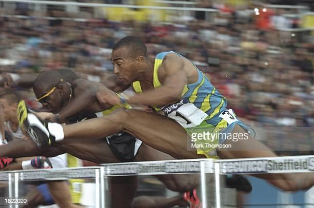 Colin Jackson of Great Britain in action in the 110 metre hurdles at the IAAF Securicor Games Grand Prix at the Don Valley Stadium in Sheffield...