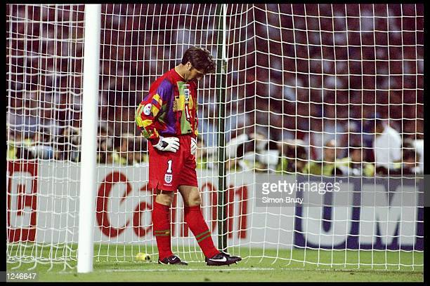 David Seaman of Engalnd prepares for another penalty kick during the European soccer championships semi final match between England and Germany at...