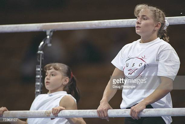 Dominique Moceanu left and Shannon Miller stand together during the USA Gymnastics Trials at the Fleet Center in Boston Massachusetts Mandatory...