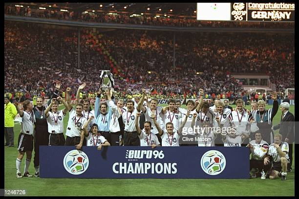 Germany celebrate victory after the European Nations soccer championships final match between the Czech Republic and Germany at Wembley Stadium,...