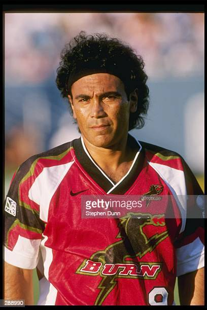 Hugo Sanchez of the Dallas Burn stands on the field during a game against the San Jose Clash at the Cotton Bowl in Dallas Texas The Burn won the game...