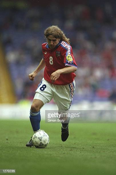 Karel Poborsky of the Czech Republic in action during the Euro ''96 match against Russia at Anfield in Liverpool England The match ended in a 33 draw...