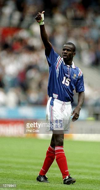 Lilian Thuram of France gives a thumbs up during the European Championship match against Bulgaria at St James'' Park in Newcastle England France won...