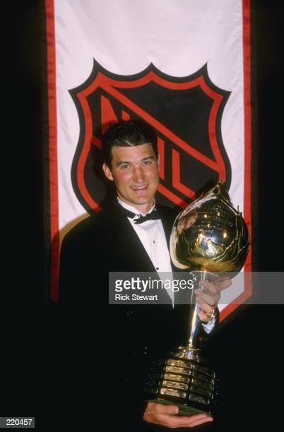 Mario Lemieux of the Pittsburgh Penguins wins the Hart Trophy during the NHL Awards ceremony at the Metro Convention Center in Toronto, Ontario,...