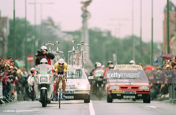 Miguel Indurain of Spain five times winner of the tour de France finishes seventh during the Prologue around the town of 'sHertogenbosch at the start...