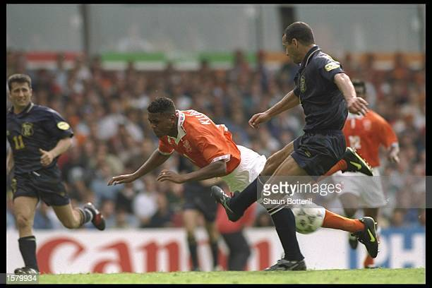 Patrick Kluivert of Holland in full flight after being fouled during the European soccer championship game between Holland and Scotland at Villa...