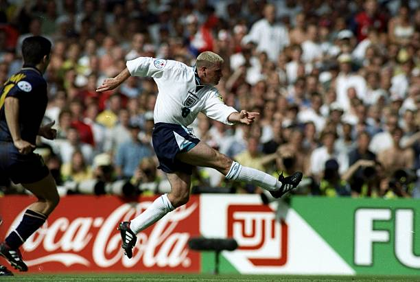 Paul Gascoigne of England scores their second goal during the European Championship match against Scotland at Wembley Stadium in London. England won...