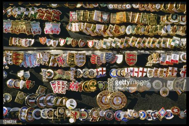 Pin badges of the teams become collectors items during the European Football Championships