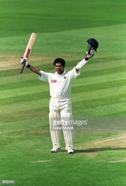 Sachin Tendulkar of India celebrates reaching his century during the First Test match against England played at Edgbaston, in Birmingham, England. \...