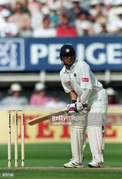 Sachin Tendulkar of India in action during the First Test match against England played at Edgbaston in Birmingham England Mandatory Credit Adrian...