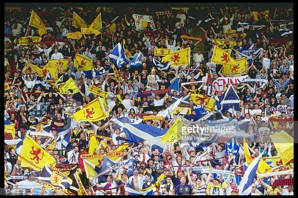 Scottish football fans pictured during the England v Scotland match in Group A of the European Football Championships at Wembley England beat...