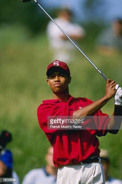 Tiger Woods of Stanford University in action during his 1st place victory in the Division 1 Men's Golf Championships at Chatanooga Honors Golf Course...