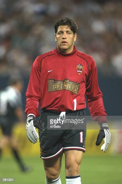 Tony Meola of the New York/New Jersey MetroStars looks on during a game against the Kansas City Wizards at Giants Stadium in East Rutherford, New...