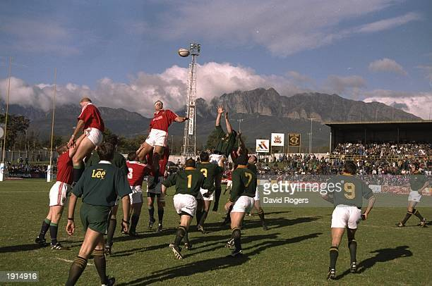 A general view of a lineout during the tour match between the Emerging Springboks and the British Lions in Wellington South Africa The British Lions...