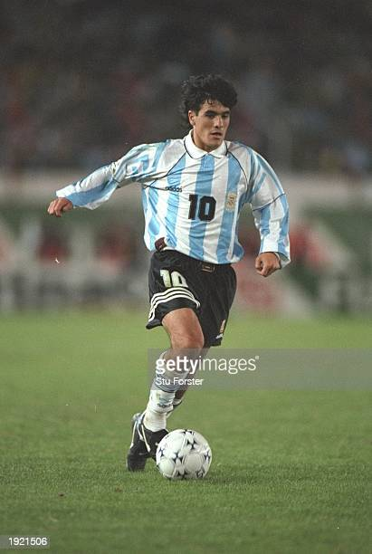 Ariel Ortega of Argentina in action during the World Cup Qualifier against Peru at the River Plate Stadium in Buenos Aires Argentina Argentina won...