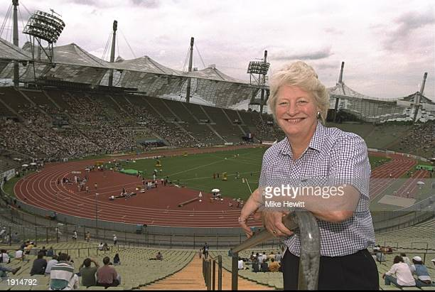 BAF President Mary Peters of Great Britain watches the European Cup Final action in the Olympic Stadium in Munich Germany Mandatory Credit Mike...