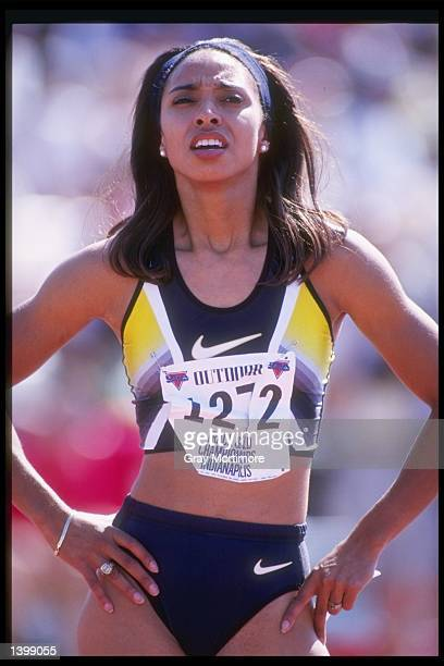 Cheryl Taplin stands on the track before the 200 meter dash semifinals at the US Outdoor Track and Field Championships in Indianapolis Indiana...