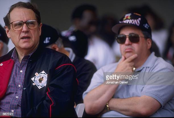 Chicago Bulls owner Jerry Reinsdorf and general manager Jerry Krause look on during the Bulls victory parade in Chicago Illinois Mandatory Credit...