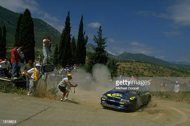 Colin McRae of Scotland driving his Subaru Impreza in the mountains of the Acropolis Rally during the FIA World Rally Championships in Athens Greece...